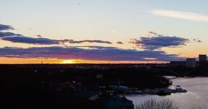 Stockholm city, Sweden Sunset time-lapse Skinnarviksberget stock video