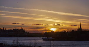 Stockholm city, Sweden Sunset under water time-lapse Beckholmen stock video footage