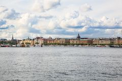 Stockholm city view. Stockholm old city with boats, view from sea Stock Photo