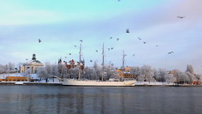 Stockholm City at winter stock video