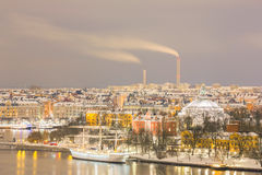 Stockholm cityscape at night Stock Images
