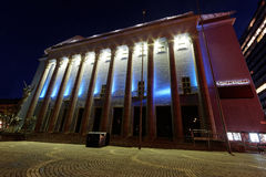 Stockholm concert hall. STOCKHOLM, SWEDEN - OCT 12, 2015: Stockholm concert hall (early morning) where the Nobel prize ceremony take place December 10th every Stock Photo