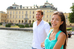Stockholm couple at Drottningholm palace, Sweden royalty free stock photography