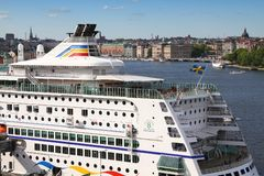 Stockholm cruise ship. STOCKHOLM, SWEDEN - MAY 31, 2010: Birka Line cruise ship in Stockholm, Sweden. Birka Line operates a cruise ship and multiple cargo ships Royalty Free Stock Image
