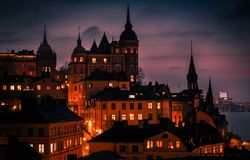 Stockholm-Dämmerungssonnenuntergangszene, Schweden Stockfotos