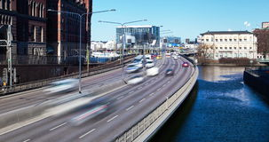 Stockholm day road traffic time lapse stock video footage