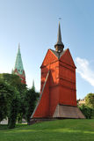 Stockholm. De oude houten kerk stock foto's