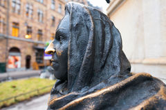 STOCKHOLM - DEC 18: Detail of statue depicting the actress Marga Stock Photos