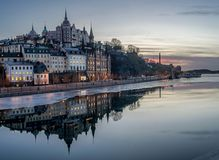 Stockholm at dusk with reflection in water royalty free stock images