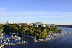 Stockholm embankment with boats Royalty Free Stock Photos