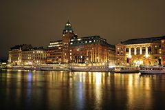 Stockholm embankment with boats Stock Photos