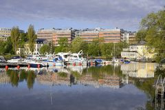 Stockholm embankment with boats Stock Photography