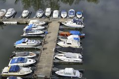 Stockholm embankment with boats Royalty Free Stock Photography