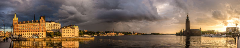 Stockholm evening panorama Stock Photo