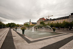 Stockholm fountains. Stockholm city, a cloudy autumn day Royalty Free Stock Photo
