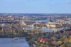 Stockholm från himlen - flyg- sikt Fotografering för Bildbyråer
