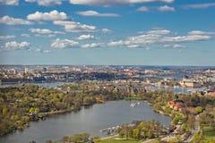 Stockholm från himlen - flyg- sikt Royaltyfri Bild