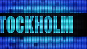 STOCKHOLM Front Text Scrolling LED Wall Pannel Display Sign Board stock video footage