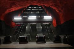 Stockholm gångtunnel arkivfoton