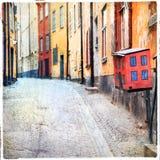 Stockholm gamla gator Fotografering för Bildbyråer