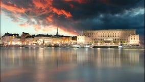 Stockholm gammal stad, Sweiden - Tid schackningsperiod lager videofilmer