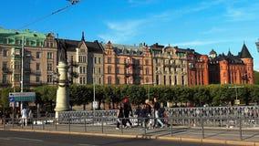 stockholm gammal town Arkitektur, gamla hus, gator och grannskapar lager videofilmer