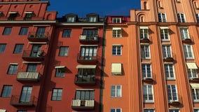 stockholm gammal town Arkitektur, gamla hus, gator och grannskapar arkivfilmer