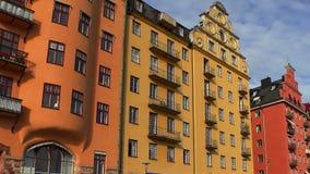 stockholm gammal town Arkitektur, gamla hus, gator och grannskapar stock video