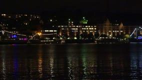 stockholm gammal town Arkitektur, gamla hus, gator och grannskapar Natt ljus arkivfilmer