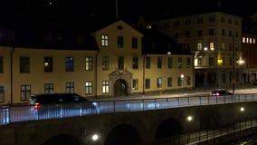 stockholm gammal town Arkitektur, gamla hus, gator och grannskapar Natt ljus stock video