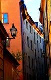 Stockholm geht in einen Sonnenuntergang stockfotografie
