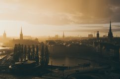 Stockholm golden sunset Royalty Free Stock Photo