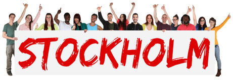 Stockholm group of young multi ethnic people holding banner Stock Image