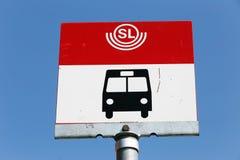 Stockholm hållplatstecken Arkivfoto