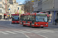 Stockholm  hamngatan buses Royalty Free Stock Photography
