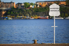 Stockholm harbor sign stock photos