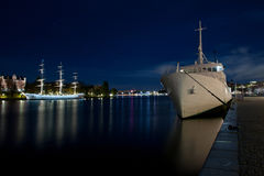 Stockholm harbour in night Stock Image
