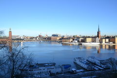 Stockholm from an hill - city hall and Gamla Stan. View of Stockholm from an hill in Mariatorget Royalty Free Stock Images
