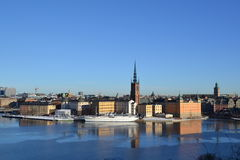 Stockholm from an hill - city hall and Gamla Stan. View of Stockholm from an hill in Mariatorget Stock Photography