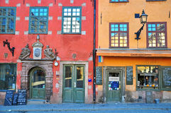 Stockholm hus i central fyrkant Royaltyfri Fotografi