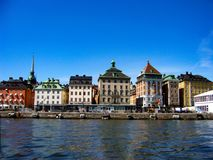 Stockholm huvudstaden av Sverige, är spridning över en slutsumma av 14 öar Royaltyfri Foto