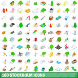 100 stockholm icons set, isometric 3d style. 100 stockholm icons set in isometric 3d style for any design vector illustration Royalty Free Stock Photography
