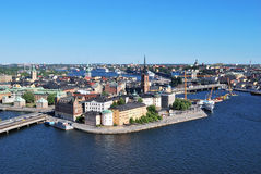 Stockholm,  island Riddarholmen. Stockholm, the island Riddarholmen in the afternoon. Bird's-eye view Stock Photography