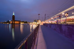 Stockholm and its city-hall by night Royalty Free Stock Images