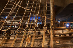 STOCKHOLM - JANUARY 6: 17th century Vasa warship salvaged from Royalty Free Stock Image