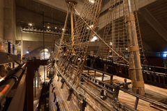 STOCKHOLM - JANUARY 6: 17th century Vasa warship salvaged from Royalty Free Stock Images