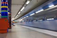 24 Stockholm-JULI: Metro post in Stockholm Stock Foto