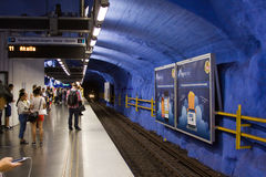 25 Stockholm-JULI: Metro post in Stockholm Royalty-vrije Stock Afbeeldingen