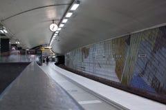 STOCKHOLM 24. JULI: Metrostation in Stockholm Stockbilder