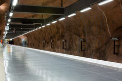 STOCKHOLM-JULY 25 :地铁车站在斯德哥尔摩 图库摄影